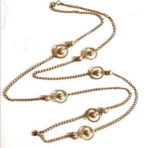 Vintage Gold Pearl Necklace long